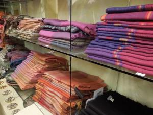 Natural dyes, alpaca shawls. Peru 2013